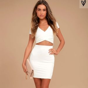 """Lulus """"by your side"""" ivory two piece set"""